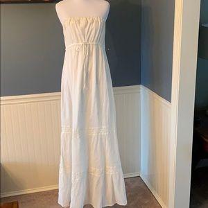 Old Navy Gauzy Cream Strapless Tube Maxi Dress Med